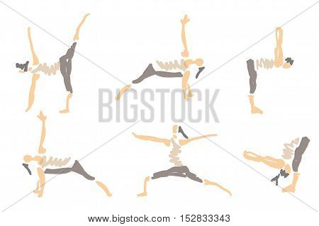 Woman In Vector Illustrated Sketched Yoga Asanas