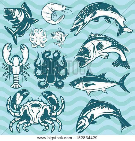 set of river freshwater and marine fish and shellfish