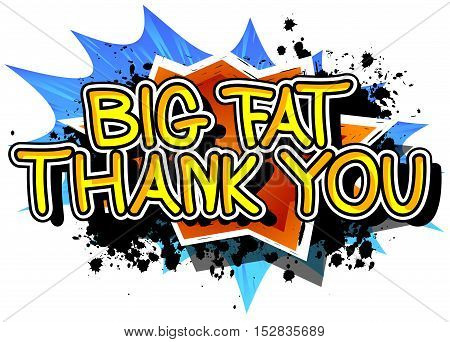 Big Fat Thank You - Comic book style text on comic book abstract background.