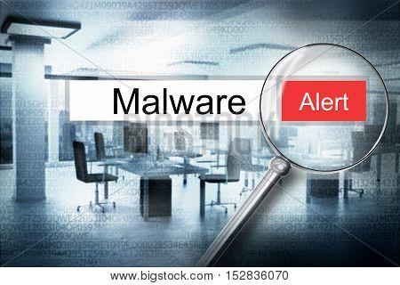 reading the word malware browser search security alert 3D Illustration