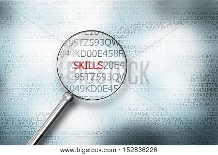 reading skills on screen with magnifying glass 3D Illustration