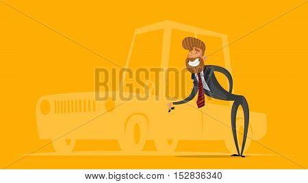 Happy salesman businessman handing car keys. Stylish businessman-hipster.