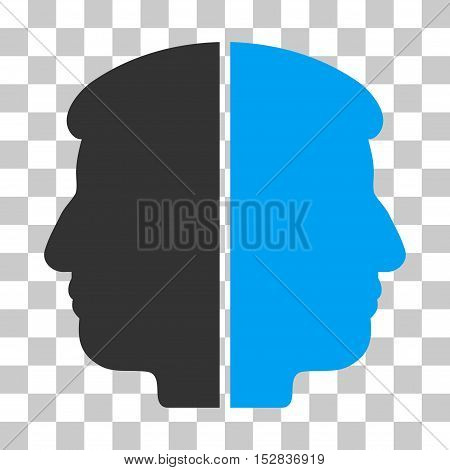 Blue And Gray Dual Face toolbar pictogram. Vector pictograph style is a flat bicolor symbol on chess transparent background.