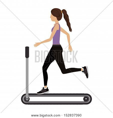 woman training on running band gym equipment. fitness lifestyle design. vector illustratio