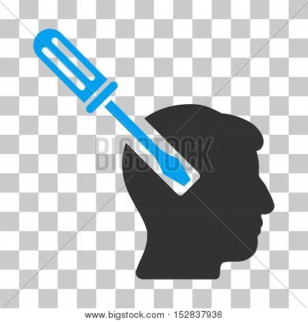 Blue And Gray Head Screwdriver Tuning interface icon. Vector pictogram style is a flat bicolor symbol on chess transparent background.