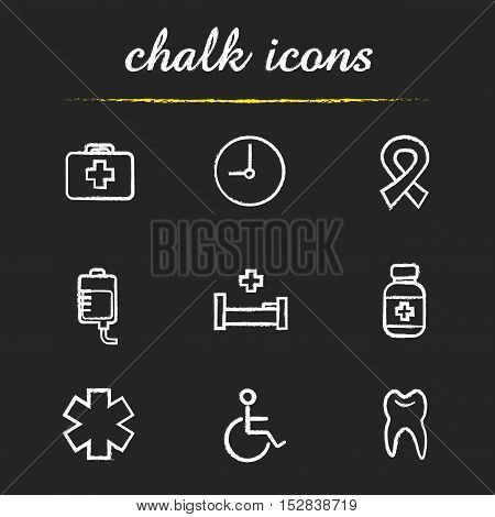 Medical chalk icons set. First aid kit, clock, aids ribbon, blood bag, hospital bed, medication bottle, star of life, wheelchair, tooth illustrations. Isolated vector chalkboard drawings
