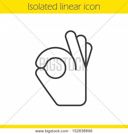 OK hand gesture linear icon. Thin line illustration. A-ok contour symbol. Vector isolated outline drawing