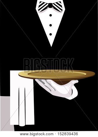waiter serves, vector of man in black jacket give a dish, a hand in white glove