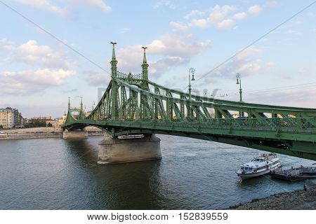 Chain Bridge in Budapest, Hungary. Beautiful Budapest bridges. Best Szechenyi Bridge of Budapest. Bridge over the Danube