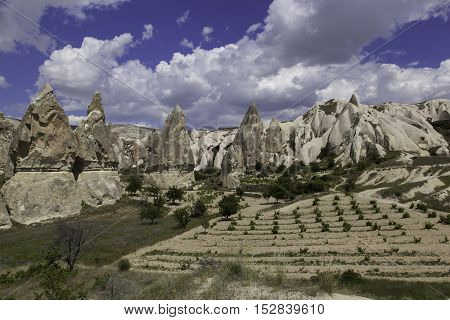 Rock formations and yound winery in White valeey Turkey