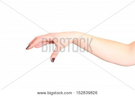 Female hand with manicured fingers in a dark battle position