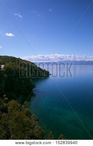 sunny autumn day on the shore of Lake Ohrid.