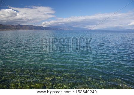 sunny day on the shore of Lake Ohrid.