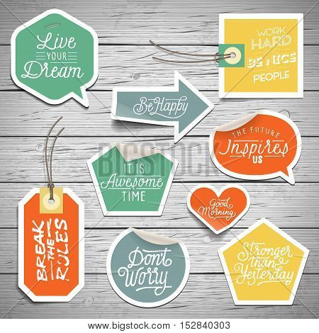 Stickers On Rustic Wood Background