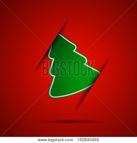 Simple vector christmas tree on red background marry christmas