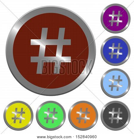 Set of color glossy coin-like hash tag buttons