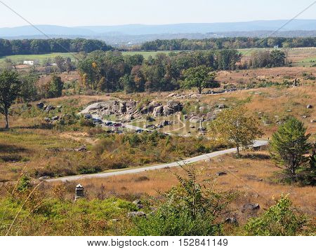 high angle view of Devil's Den on the Gettysburg Battlefield in Pennsylvania. Photo was taken from Little Round Top.