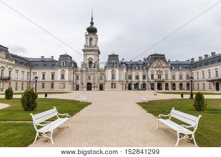 The park near the palace Festetics, Hungary. Baroque palace located in the town of Keszthely, Zala, Hungary. the Festetics Palace, a baroque palace in Keszthely, on the Lake Balaton, in Hungary