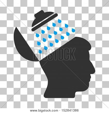 Blue And Gray Propaganda Brain Shower toolbar pictogram. Vector pictogram style is a flat bicolor symbol on chess transparent background.
