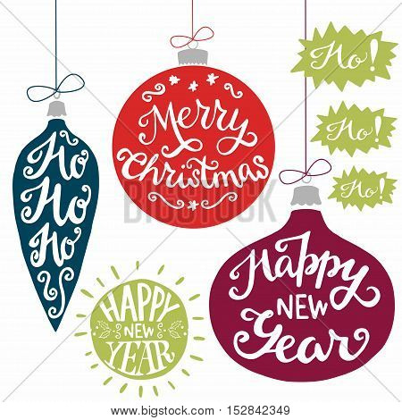 Vintage xmas baubles with Merry Christmas Ho Ho Ho! and Happy New Year hand lettering. Set of holiday hand drawn elements perfect for xmas greeting and invitation cards flyers and poster.