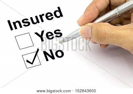 Man Insured no check-box, closeup , checklist, writing,