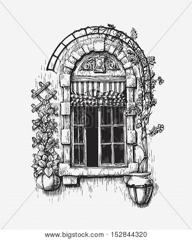 Open window sketch. Vintage historic building vector illustration