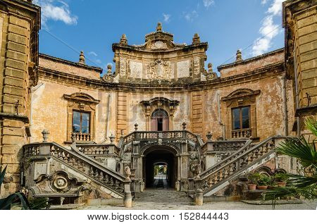 BAGHERIA ITALY - SEPTEMBER 10 2015: The Villa Palagonia is a patrician villa in Bagheria 15 km from Palermo in Sicily southern Italy. Villa is one of the earliest examples of Sicilian Baroque.