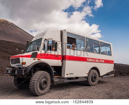 MOUNT ETNA ITALY - SEPTEMBER 16 2015: Machine for sightseeing trips at Mount Etna at the island Sicily Italy