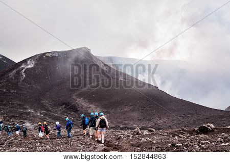 MOUNT ETNA ITALY - SEPTEMBER 16 2015: Excursion on mount Etna in Sicily Italy