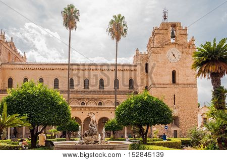 MONREALE ITALY - SEPTEMBER 8 2015: View of the main Monreale cathedral near Palermo Sicily. Italy. It is known for its mosaics on the theme of the Old and the New Testament