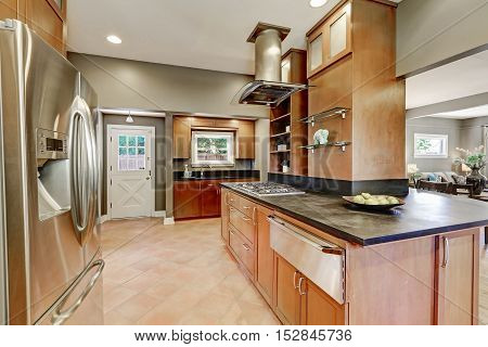 Large Kitchen Room Interior With Brown Cabinets And Steel Appliances