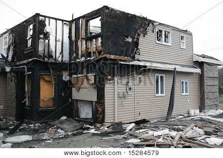 New house destroyed by fire. Also available in vertical.