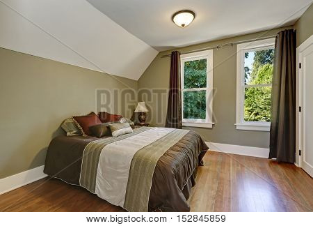 Vaulted Ceiling And Green Olive Walls. Bedroom Interior
