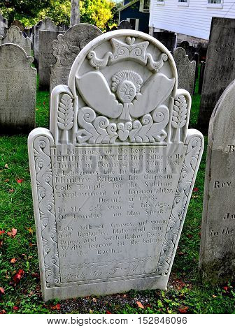 Bennington Vermont - September 18 2014: Gravestones dating to the 18th century in the 1806 First Congregational Church burial ground *