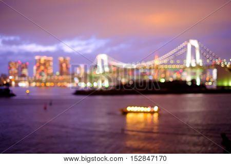 defocus bokeh blurred of beautiful Odaiba photo great for your design