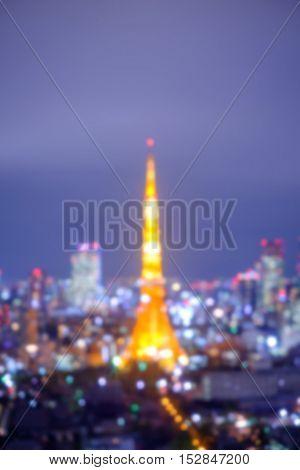 defocus bokeh blurred of beautiful TokyoTower great for your design