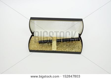 Writing Pen On A White Background, Pen In A Case Against A White Background