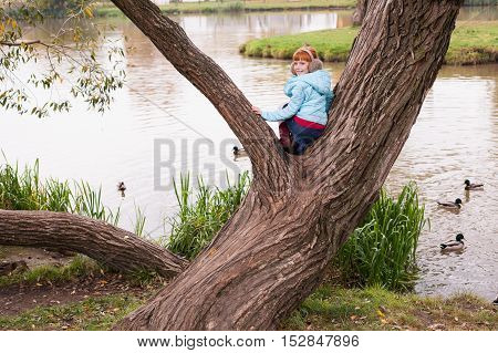 Little ginger girl in an earmuffs sitting on the tree in the park against the lake with the ducks