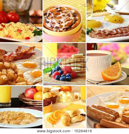 Collage of beautiful breakfast images.
