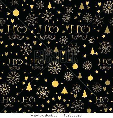 Christmas seamless background with golden Ho - Ho - Ho lettering, Snowflakes, Christmas trees, Stars. Hand drawn design for winter holidays.