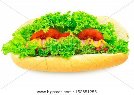 Hot dog with sausage lettuce tomato ketchup and mustard on white background