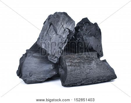 natural wood charcoaltraditional charcoal or hard wood charcoal isolated on white