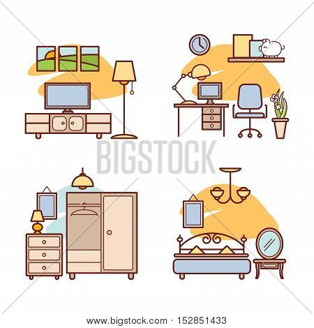 Home room icons. Living room, bedroom, work space for your design