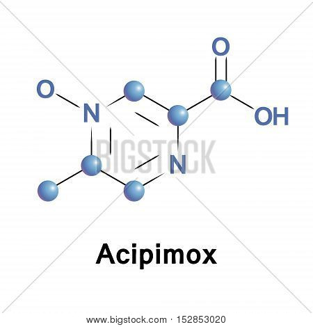 Acipimox is a niacin derivative used as a lipid-lowering agent. It reduces triglyceride levels and increases HDL cholesterol. Medical vector illustration.