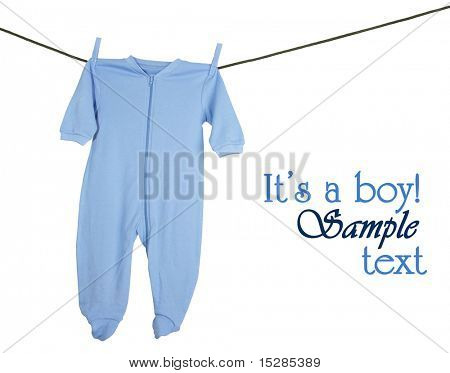 Blue sleeper hanging on a clothesline, studio isolated on white.