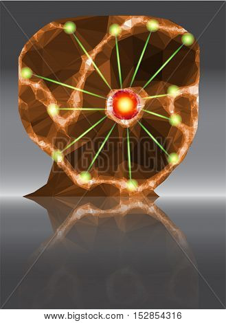 Abstract head with central red point and green laser beams. Orange and brown human head of polygons with lighting points