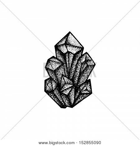 Vector Hand Drawn Crystals Illustration.