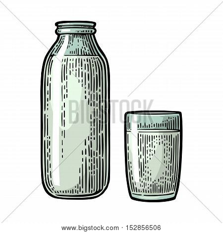 Milk glass and bottle. Vector engraving vintage color illustration. Isolated on white background.