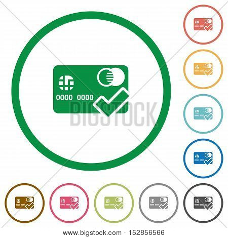 Accept credit card flat color icons in round outlines