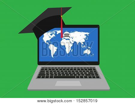 Concept of distance online and e-learning education. distance learning, flat vector illustration. Laptop with map on the screen. Headgear graduate poster